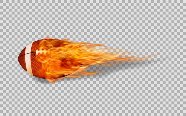 Vector american football in fire on transparent background.