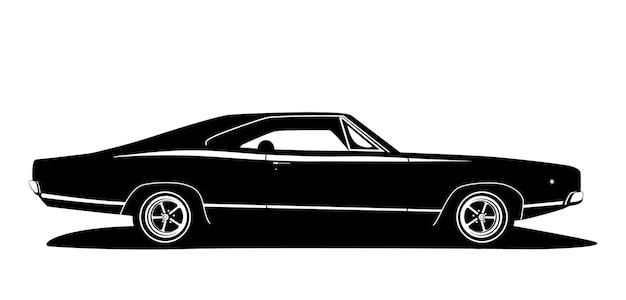 ベクトルアメリカのマッスルカーのプロファイル。クラシックカーのグラフィックデザイン。黒と白のホットロッドシルエット。ウェブロゴ、印刷物の生産のための車のラベル。