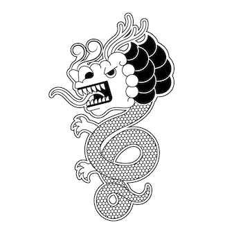 Vector of ancient chinese traditional dragon pattern illustration