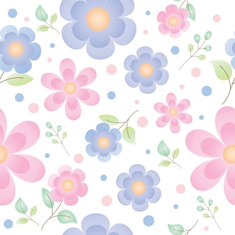 Vector and illustration seamless pattern of beautiful and cute small flowers