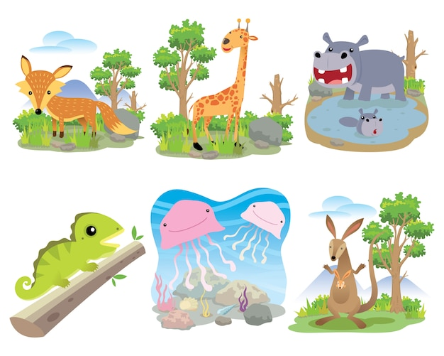 Vector animal set, fox, giraffe, hippo, chameleon, jellyfish, kangaroo,