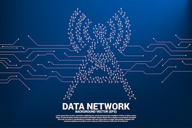 Точка значка башни антенны вектора соединяет значок данных стиля линии монтажной платы передвижной. концепция передачи данных мобильной и wi-fi сети передачи данных.
