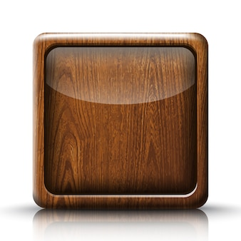 Vector app button. icon in wood texture.