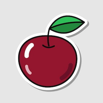 Vector apple sticker in cartoon style isolated fruit with shadow