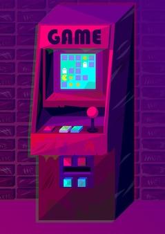 그라데이션 스타일의 벡터 아케이드 기계입니다. 디지털 아트