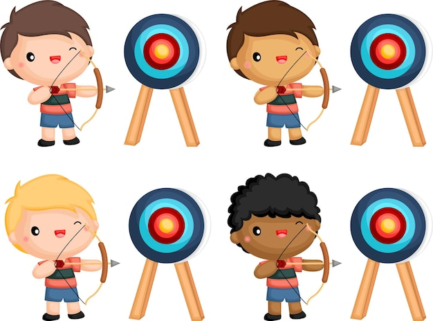 A vector of archers in different skin tones