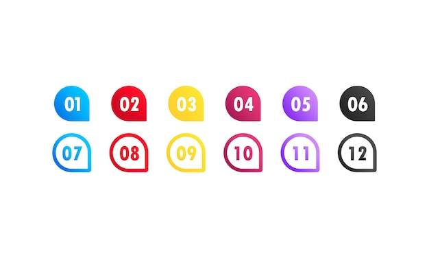 Vector arrow bullet point colorful gradient 3d markers with number 1 to 12. vector on isolated white background. eps 10.