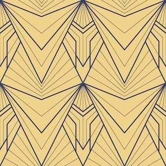 Vector art deco modern geometric tiles golden pattern
