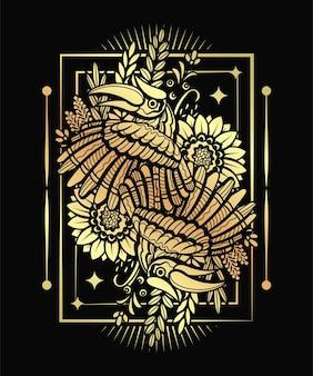 ベクトルアートゴールドオオハシ鳥