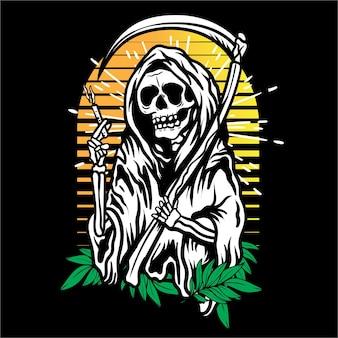 벡터 아트 연기와 잎 죽음의 신