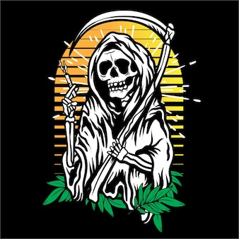 Vector art  grim reaper with smoke and leaf