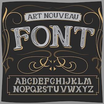 Vector art nouveau label font on a dark backround.