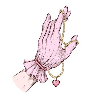 펜과 잉크로 만든 벡터 예술적 삽화 한 여성의 장갑을 낀 손이 목을 잡고