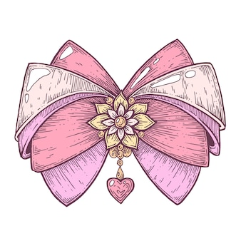 Vector artistic illustration handmade made with pen and ink a bow