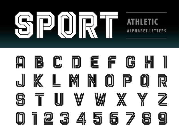 Vector of athletic alphabet letters and numbers