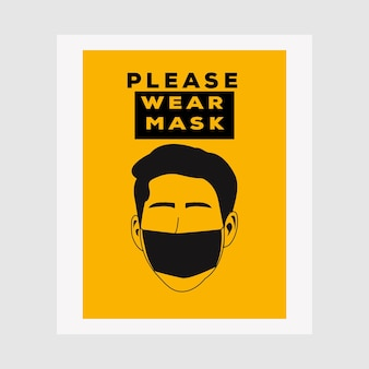 Vector attention sign, please wear mask avoid covid-19 poster vector illustration design. warning or caution sign