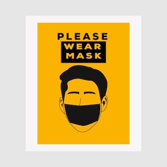 ベクトル注意サイン、マスクを着用してくださいcovid-19ポスターベクトルイラストデザインを避けてください。警告または注意のサイン