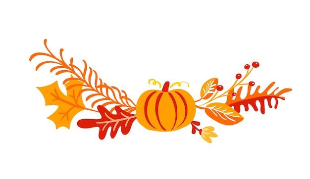 벡터가을 꽃다발 요소입니다. 메이플 오렌지 잎, 열매, 호박 흰색 배경에 고립
