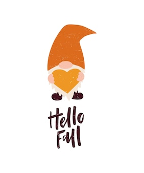 Vector autumn illustration with lettering quote hello fall and cute gnome, pumpkin on white background. harvest season decoration. template for poster, card, festival banner.