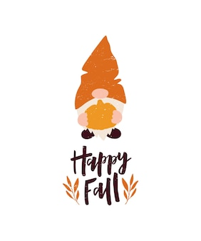 Vector autumn illustration with lettering quote