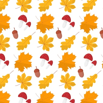 Vector autumn pattern autumn pattern with leaves acorns and mushrooms flat style