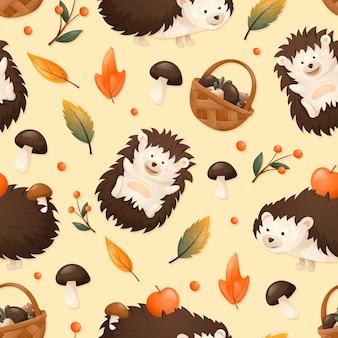 Вектор осенний узор, веселые лесные дети-ежики несут яблоки на иголках. сухие апельсиновые опавшие листья и корзина с грибами.