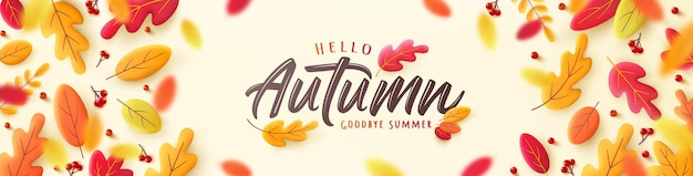Vector of autumn poster or banner with falling leaves