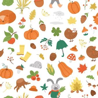 ベクトル秋のシームレスパターン。かわいい秋の季節の背景。森の動物のデジタルペーパー