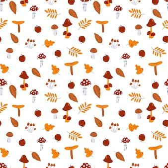 버섯이 있는 벡터 가을 원활한 패턴과 손으로 그린 만화 스타일의 잎