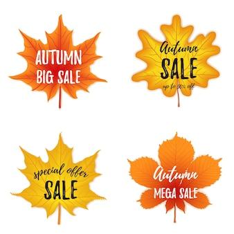Векторная коллекция баннеров осеннего сезона. набор из четырех октябрьских листьев с поздравительной надписью, осень.