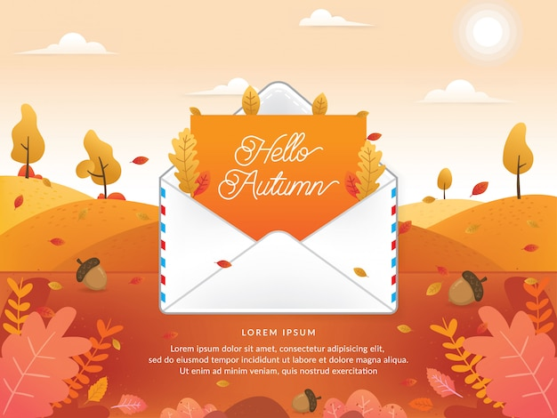 Vector of autumn season with email