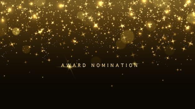 金色のキラキラとボケ味のある豪華なベクター賞ノミネートセレモニー