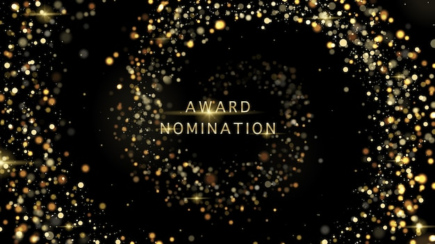 Роскошь церемонии номинации на премию vector award с золотыми блестками и боке