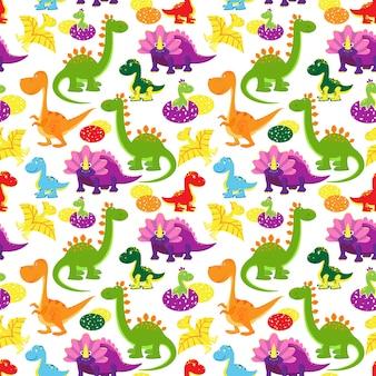 ベクトル赤ちゃん恐竜シームレスパターン、子供の背景