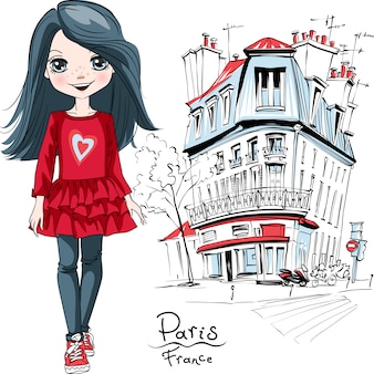 Vector baby girl in paris