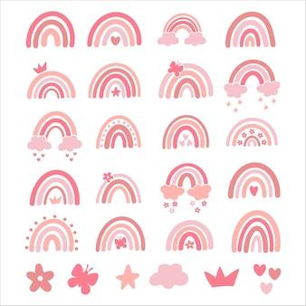 ベクトル赤ちゃん虹イラストセット。ピンクの手描きの保育園モダンな虹。ベビーシャワーのキュートなデザイン、子供服のプリント。スカンジナビアのミニマリストスタイル。