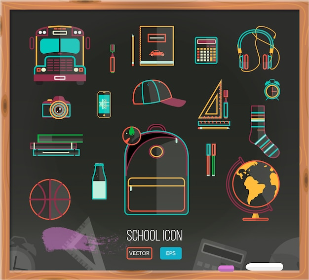 Vector back to school background with school supplies set.
