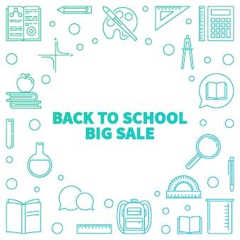 Vector back to school big sale concept colored illustration