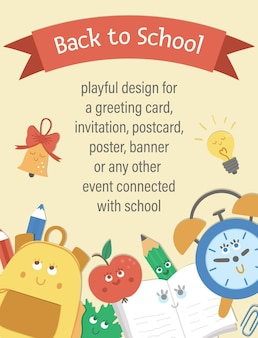 Vector back to school composition with ribbon and cute kawaii schoolbag, bell, leaf, alarm clock. funny educational design for banners, posters, invitations. vertical card template with funny statione