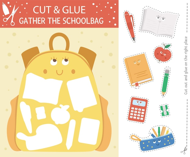 Vector back to school cut and glue activity. autumn educational crafting game with cute kawaii schoolbag. fun activity for kids. what goes to backpack printable worksheet