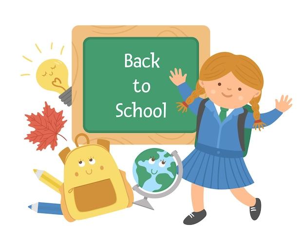 Vector back to school educational design with cute schoolgirl, chalkboard, schoolbag, globe