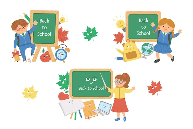 Вектор обратно в школьные композиции с милым учителем, школьниками, классной доской. веселые развивающие дизайны для баннеров, плакатов, приглашений. шаблоны карточек с канцелярскими принадлежностями kawaii