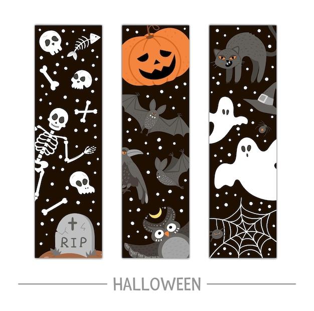 Вектор обратно в школу набор закладок хэллоуина. забавный дизайн ко дню всех святых для баннеров, плакатов, приглашений. вертикальный шаблон карты со скелетом, тыквенным фонарем, призраками, черной кошкой и летучими мышами.