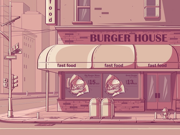 Vector background burger house in new york, usa. image of fast food cafe in pink color.