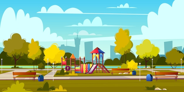 Vector background of cartoon playground in park at summer. landscape with green trees, plants and bu