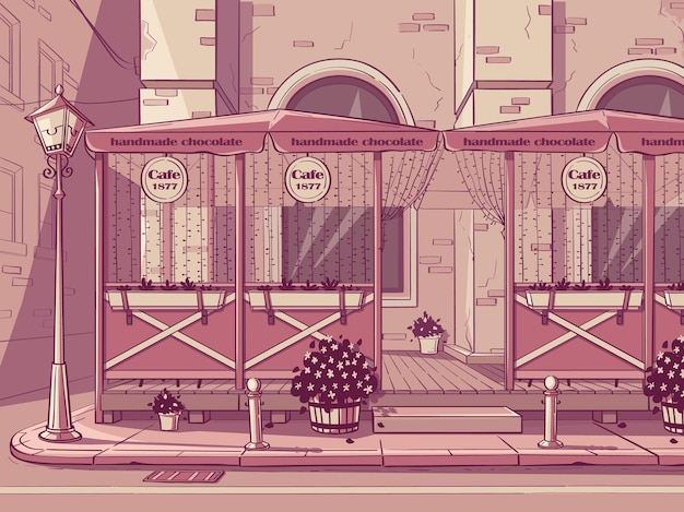Vector background chocolate shop. image of handmade chocolate cafe in pink color.