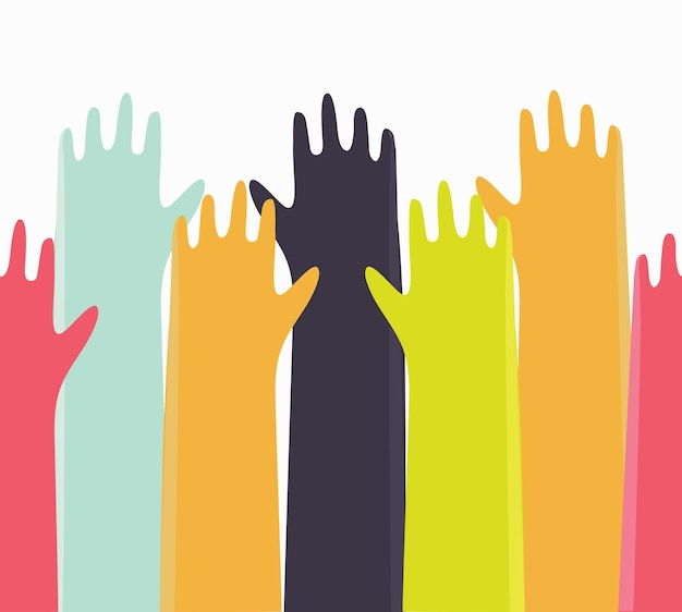 Vector background colorful up hands