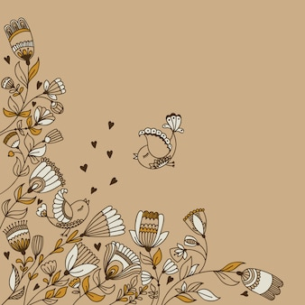 Vector background design with flowers, birds and copyspace