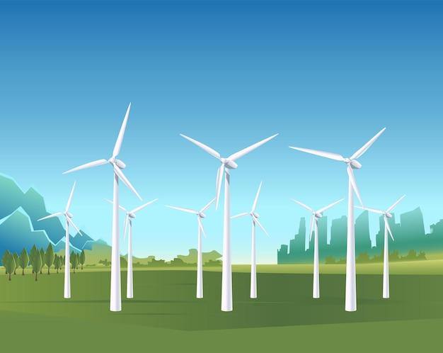 Vector background energy power banner on green fields