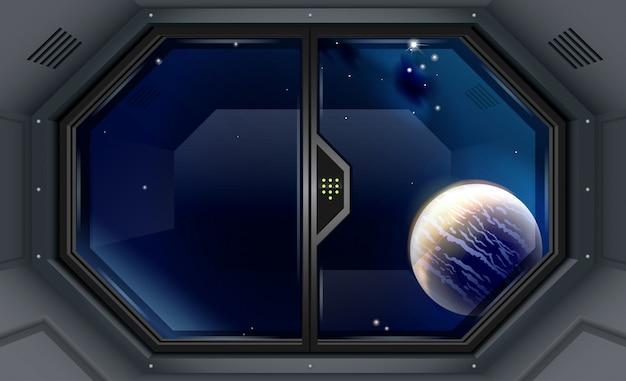 Векторный фон шлюз в открытое пространство вселенной